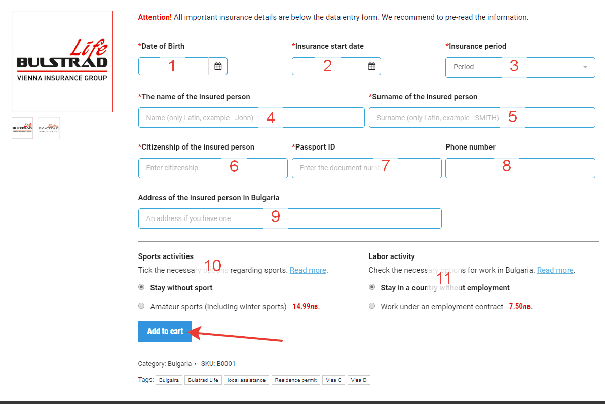 How to order Bulgarian insurance police. Step 3