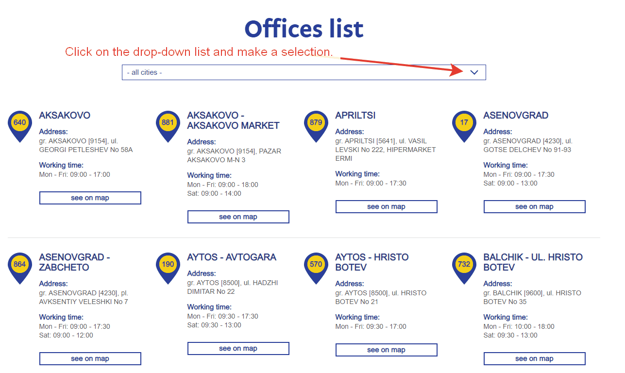 Speedy offices list